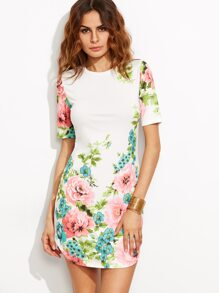 White Floral Print Short Sleeve Dress