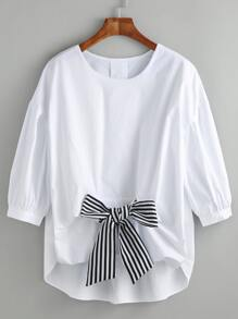 White High Low Blouse With Contrast Bow