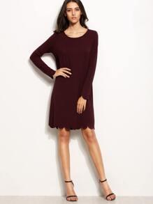 Burgundy Scallop Trim Long Sleeve Shift Dress