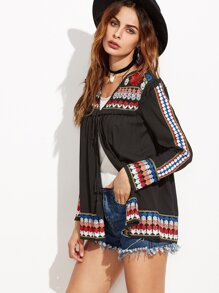 Black Embroidered Tassel Tie Front Blouse
