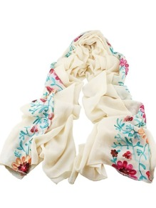 Beige Flower Printed Boho Style Wide Cotton Scarf For Ladies