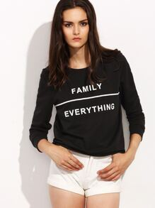 Black Letter Print Round Neck Long Sleeve T-shirt