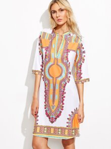 Vintage Print Deep V Neck Elbow Sleeve Tunic Dress