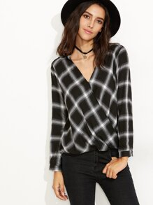 Black Plaid V Neck Wrap Blouse