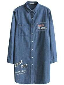 Blue Letter Print Single Breasted Long Denim Coat