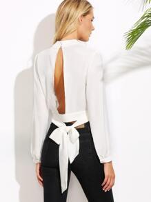White Cutout Tie Back Crop Blouse