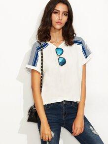 White Striped Back Short Sleeve T-shirt