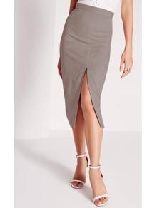 Grey Slit Front Pencil Skirt
