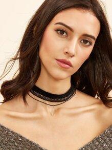 Black Layered Multi Material Bar Pendant Choker Necklace
