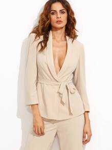 Apricot Lapel Tie Waist Three Quarter Sleeve Blazer