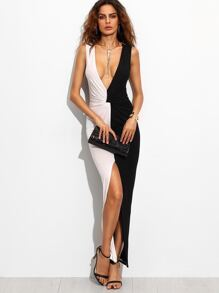 Contrast Deep V Neck Twist Front Slit Maxi Dress