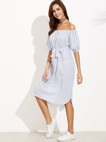 Blue Vertical Striped Off The Shoulder Self Tie Dress