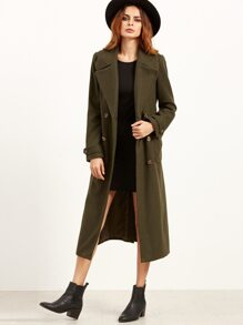 Olive Green Double Breasted Wrap Coat