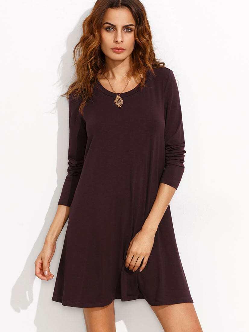 Burgundy long sleeve t shirt dress emmacloth women fast for Burgundy long sleeve t shirt womens