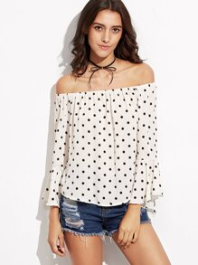 White Polka Dot Off The Shoulder Bell Sleeve Top