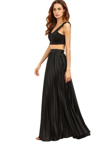 Black Zipper Side Pleated Flare Maxi Skirt