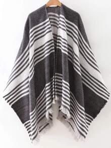 Black Stripe Frayed Poncho Scarf