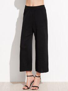 Black Elastic Waist Wide Leg Pants