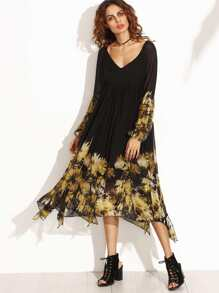 Black Florals V Neck Cutout Back Asymmetrical Dress
