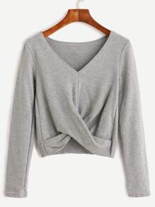 Grey V Neck Twist Front Crop T-shirt