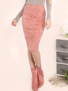 Pink Faux Suede Pencil Skirt