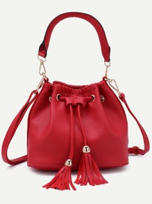 Red Faux Leather Tassel Drawstring Bucket Bag