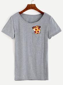 Grey Ice Cream Print Pocket T-shirt