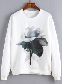 White Flower Print Sweatshirt