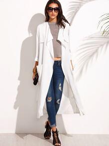 White Lapel Tie Waist Pocket Long Outerwear