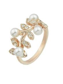 Rosegold Imitation Pearl Rhinestone Leaf Shape Statement Ring For Women