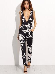 Black Contrast Floral Print Deep V Neck Jumpsuit