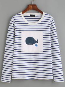 White Striped Whale Print T-shirt
