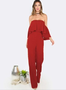 Red Off The Shoulder Ruffle Jumpsuit