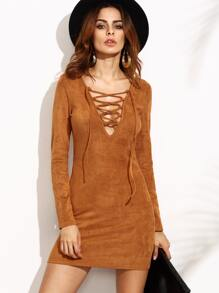 Camel Faux Suede Lace Up V Neck Bodycon Dress