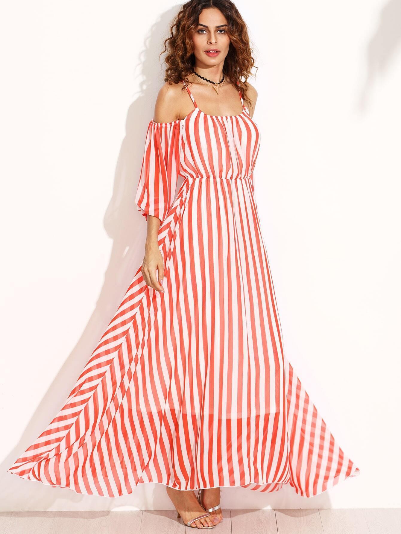 Платье из шифона в полоску