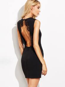 Black Lace Trim Open Back Sheath Dress