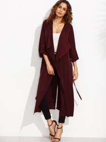 Burgundy Lapel Rolled Up Sleeve Split Long Outerwear