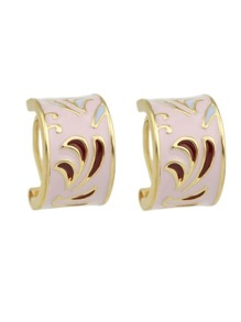 Pink Pattern Ethnic Hoop Earrings