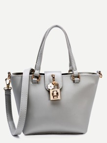 Grey Faux Leather Tote Bag With Strap