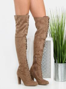 Thigh High Front Lace Up Boots TAUPE