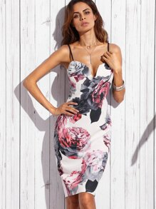 Floral Print Sweetheart Neck Sheath Dress