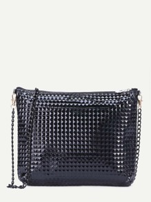Black Geometric Embossed PU Chain Bag