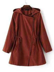 Brown Hooded Asymmetric Zipper Drawstring Outerwear