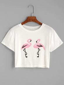 White Flamingos Print Split Side Crop Top