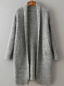 Grey Shawl Collar Drop Shoulder Long Sweater Coat
