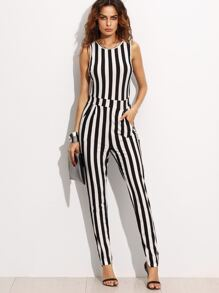 Contrast Vertical Stripe Sleeveless Keyhole Back Jumpsuit