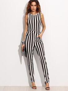 Contrast Vertical Stripe Sleeveless Keyhole Back Jumpsuit