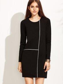 Black Contrast Trim Sheath Dress