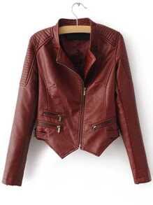 Red Oblique Zipper Asymmetrical Crop PU Jacket