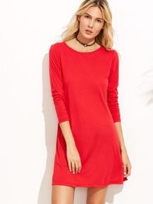 Red Long Sleeve Pocket Tee Dress